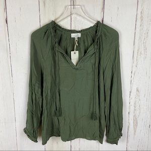 Lucky Brand | Green V-Neck Tie Light Blouse Top